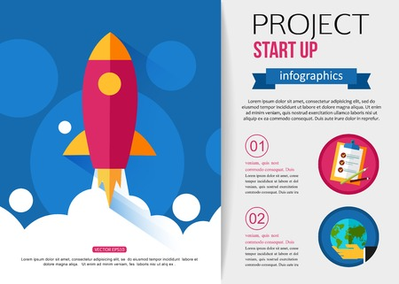 start up: Business start up rocket infographics. Flat style design with place for text.