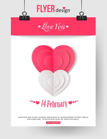 hand made: Valentines Day brochure template with paper hearts and place for text. Abstract typographical flyer. Vector illustration. Illustration