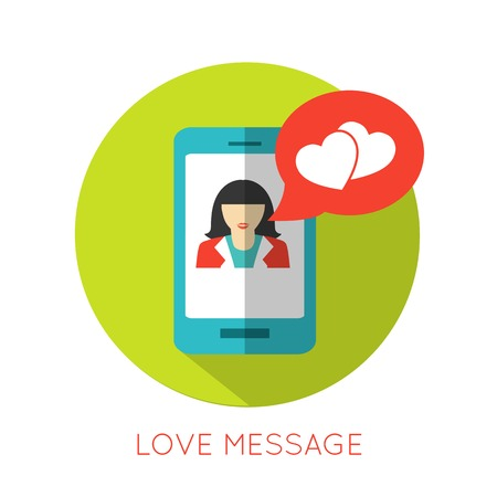 Love message flat concept. Valentines day icon for mobile applications. Vector illustration.