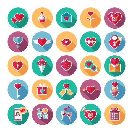 phone card: Set of flat valentines day icons. Vector illustration. Illustration