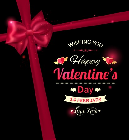 flyer party: Happy Valentines day  typographical holiday background with red bow and  blurred bokeh lights. This vector illustration can be used as greeting card or wedding invitation for your design. Illustration