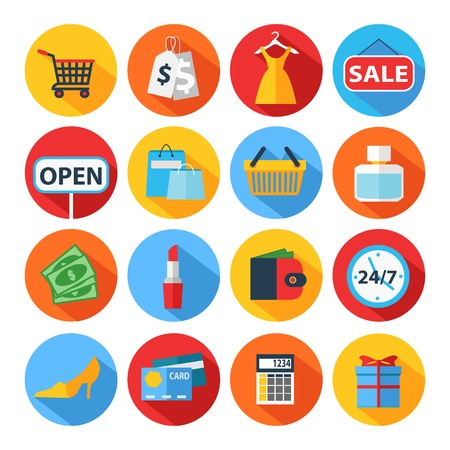 etiquetas de ropa: Conjunto de iconos de compras planas. Ilustración del vector.