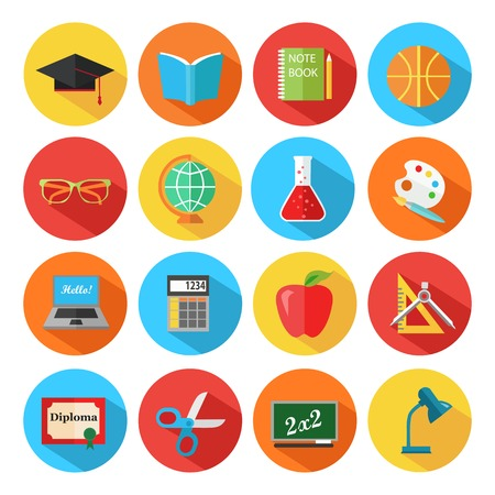 art book: Set of flat school and education icons set. Vector illustration.