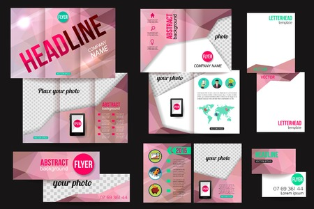 sides: Set of corporate business stationery brochure templates. Back and front sides. Abstract geometric background for flyer, report, placard or business document design. Infographic concept for mobile technologies and online services with flat business icons a Illustration