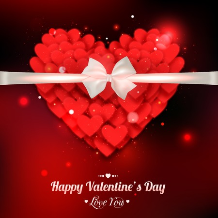 Happy Valentines day typographical glow holiday background with shining soft hearts, blurred bokeh lights, white bow and place for text. This vector illustration can be used as greeting card or wedding invitation for your design. Vector