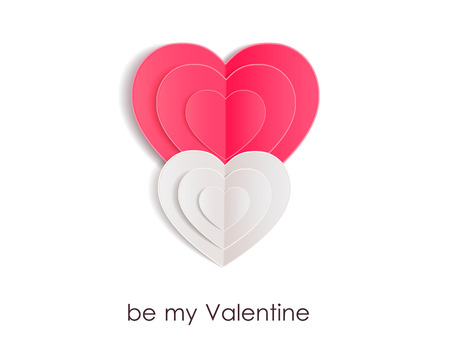 Valentines day background with paper hearts. Vector illustration.