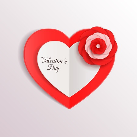 Valentines day background with paper hearts and flower. Vector illustration. Vector