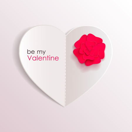 Valentines day background with paper hearts and flower. Vector illustration.