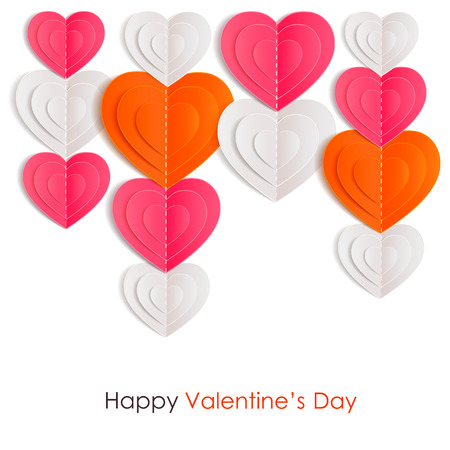 valentines day background: Valentines day background with paper hearts. Vector illustration.