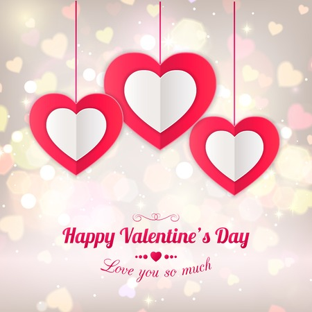 Valentines day typographical background with hanging paper hearts. Shining background  with blurred bokeh lights. This vector illustration can be used as greeting card or wedding invitation for your design. Illustration