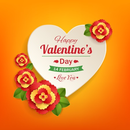 typographical: Valentines day typographical background with paper heart and flowers .This vector illustration can be used as greeting card or wedding invitation for your design.