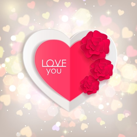Valentines day background with paper hearts and flowers. Shining background  with blurred bokeh lights. This vector illustration can be used as greeting card or wedding invitation for your design. Vector
