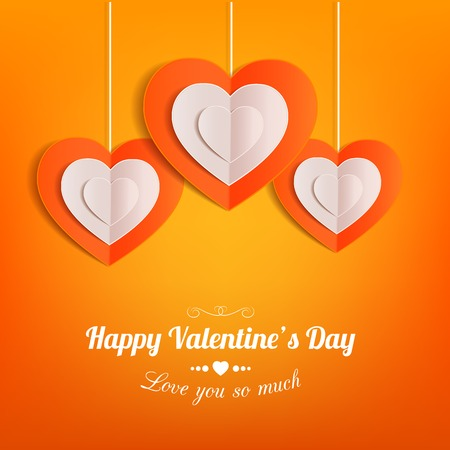 typographical: Valentines day typographical background with hanging paper hearts .This vector illustration can be used as greeting card or wedding invitation for your design.