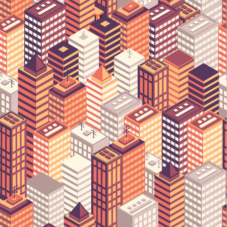 city building: Colorful flat isometric city seamless pattern. Vector illustration. Illustration