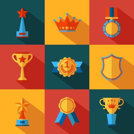 awards: Set of flat awards icons. Vector illustration.