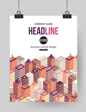 Flat isometric city brochure template with place for text. Buildings background for business design. Vector illustration. Illustration