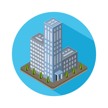 corporate building: Flat isometric city real estate icon. Vector illustration