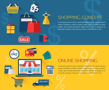 shopping: Đặt mua sắm và khái niệm mua sắm trực tuyến các biểu ngữ với vị trí cho văn bản. Bộ sưu tập các biểu tượng giáo dục căn hộ cho các thiết kế của bạn. Vector hình minh họa.