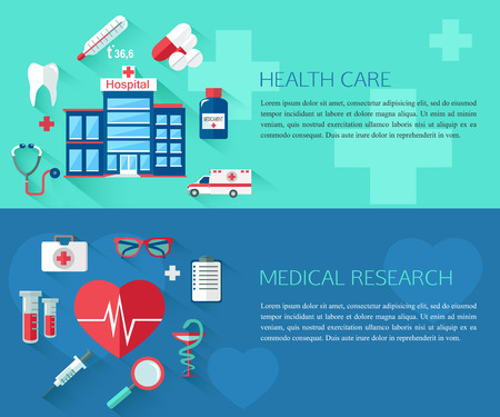 place of research: Set of health care and medical research concept banners with place for text. Collection of flat education icons for your design. Vector illustration.