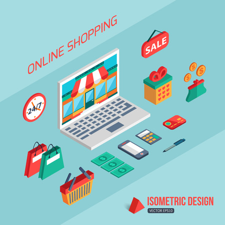 pc icon: E-commerce and online shopping. Flat 3d isometric design. Infographic concept with place for text. Vector illustration. Illustration