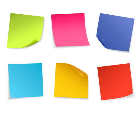 paper notes: Set of isolated colorful paper notes. Vector illustration.