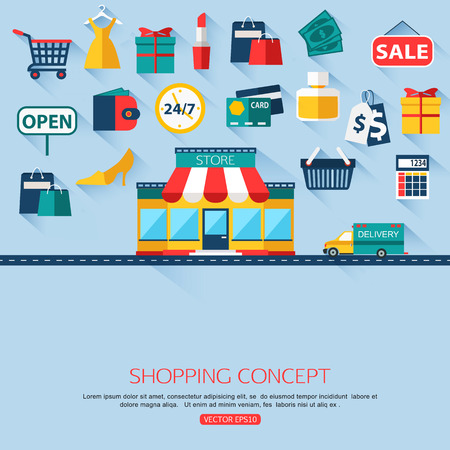 Shopping concept background with place for text. Flat design. Vector illustration.