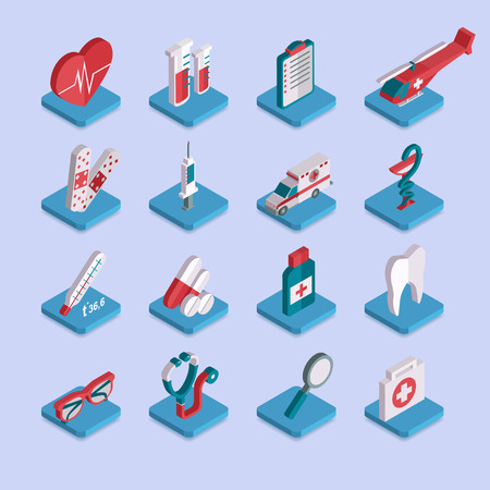 medical icons: Set of flat isometric 3d medical healthcare icons. Vector illustration.