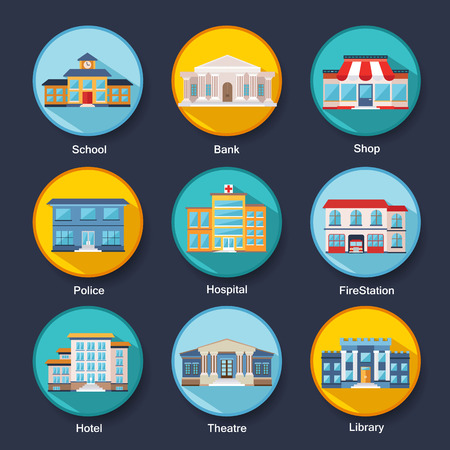 home school: Set of modern colorful flat buildings icons. Vector illustration for your design, web and mobile applications. Illustration