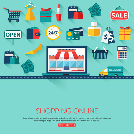 Online shopping concept background with place for text. Flat design. Collection of flat shopping icons.Vector illustration.