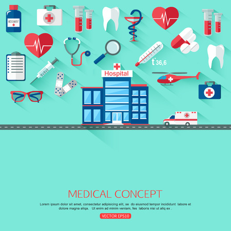 place of research: Medical research and Healthcare system concept background with place for text. Collection of flat medicine icons. Vector illustration.