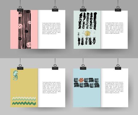 hand made: Conjunto de la mano creativa Vintage tarjetas dibujadas. Mejor mano creadora hizo el dise�o para el cartel, cartel, folleto, folleto, presentaci�n con lugar para el texto. Ilustraci�n del vector.