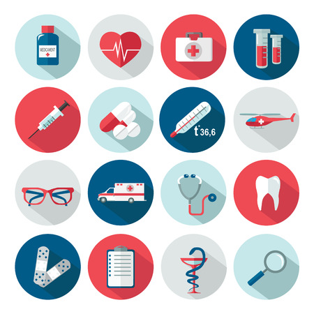 medical icons: Set of medical healthcare flat icons. Vector illustration.
