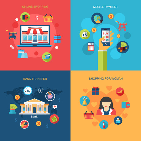 online shopping: Set of Online shopping, Mobile payment, Shopping for woman, Bank transfer concepts. Flat  design. Infographic concept with place for text. Vector illustration.