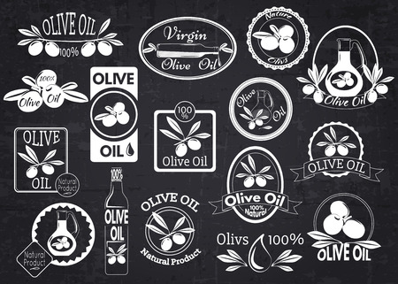olive: Set of olive oil labels, badges and logos for design over blackboard. Vector illustration. Illustration