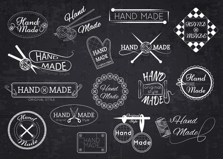 Set of hand made labels, badges and logos for design over blackboard. Vector illustration. Vettoriali