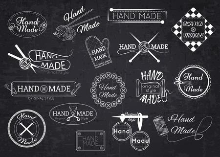 Set of hand made labels, badges and logos for design over blackboard. Vector illustration. Stock Illustratie