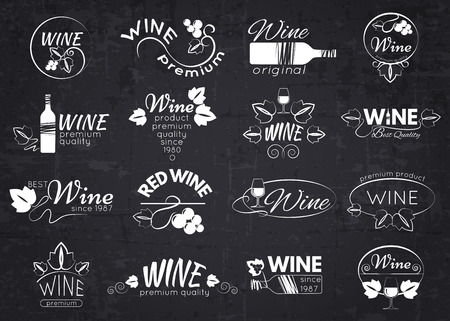 Set of wine labels, badges and logos for design over blackboard. Vector illustration.