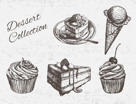 CAKE: Dibujado a mano colección de postre. Ilustración del vector.