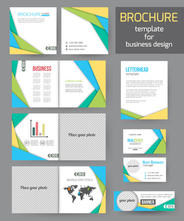 materials: Set of corporate business stationery brochure templates with infographics elements. Abstract geometric background for flyer, report, presentation or business document modern square material design. Vector illustration.