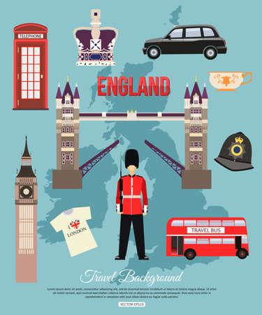 bus anglais: Angleterre fond Voyage avec place pour le texte. Ensemble d'icônes plats colorés, symboles Angleterre pour votre conception. Vector illustration.