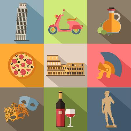 イタリア旅行カラフルなフラット アイコン、あなたの設計のための長い影とイタリアのシンボルのセットです。ベクトルの図。  イラスト・ベクター素材
