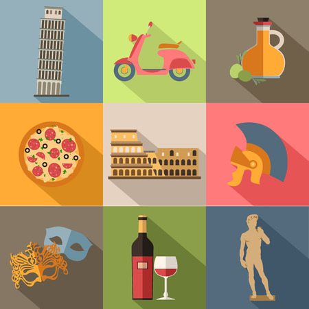 Set of Italy travel colorful flat icons, Italy symbols with long shadow for your design. Vector illustration. Ilustracja