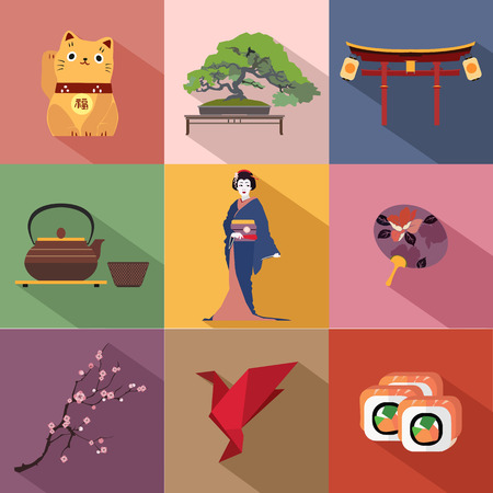 japan food: Set of Japan travel colorful flat icons, Japan symbols with long shadow for your design. Vector illustration. Illustration