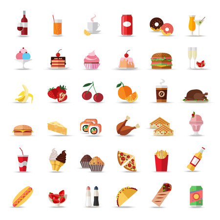 Set of colorful food and drinks icons. Flat style design isolated icons. Vector illustration. Ilustração