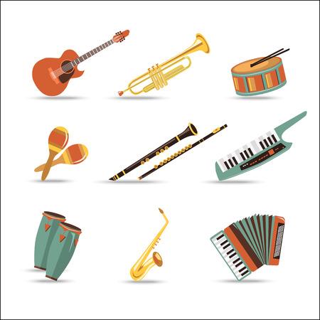 clarinete: Conjunto de instrumentos musicales. Diseño de estilo Flat. Ilustración del vector. Vectores