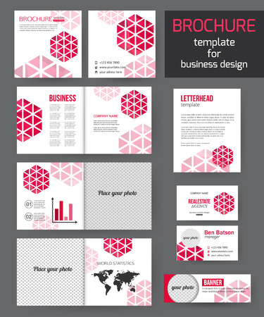 namecard: Set of corporate business stationery brochure templates with infographics elements. Abstract geometric background for flyer, report, presentation or business document modern square design. Vector illustration.