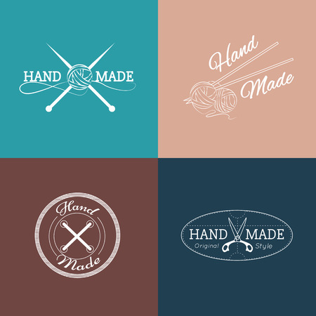 Set of hand made labels, badges and logos for design. Vector illustration. Illustration