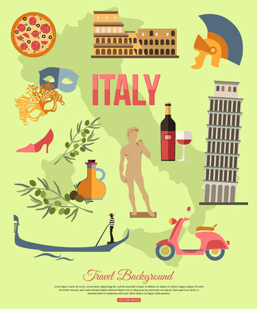 Italy travel background with place for text. Set of colorful flat icons, Italy symbols for your design. Vector illustration.
