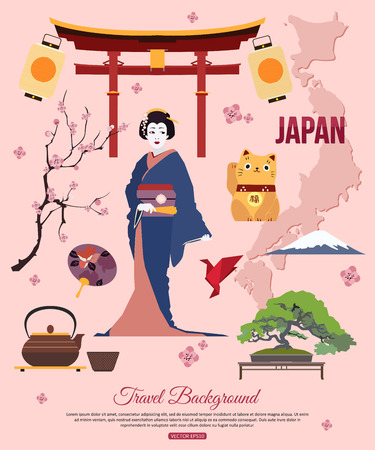 geisha kimono: Japan travel background with place for text. Set of colorful flat icons, Japan symbols for your design. Vector illustration. Illustration