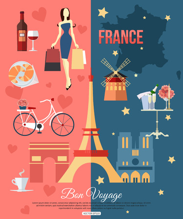 wine and cheese: France travel background with place for text. Set of colorful flat icons, France symbols for your design. Vector illustration.